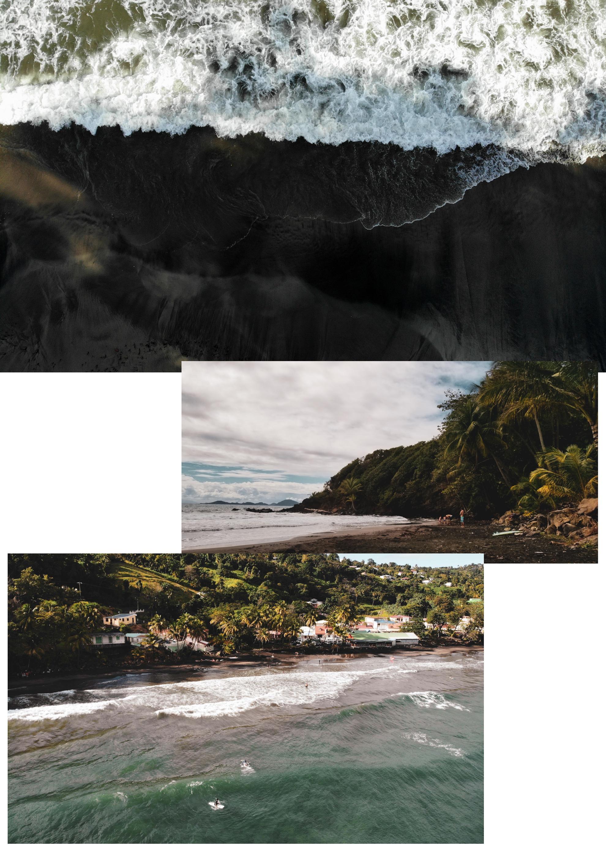 La Plage de sable noir du Bananier par Côté Hublot, Guadeloupe