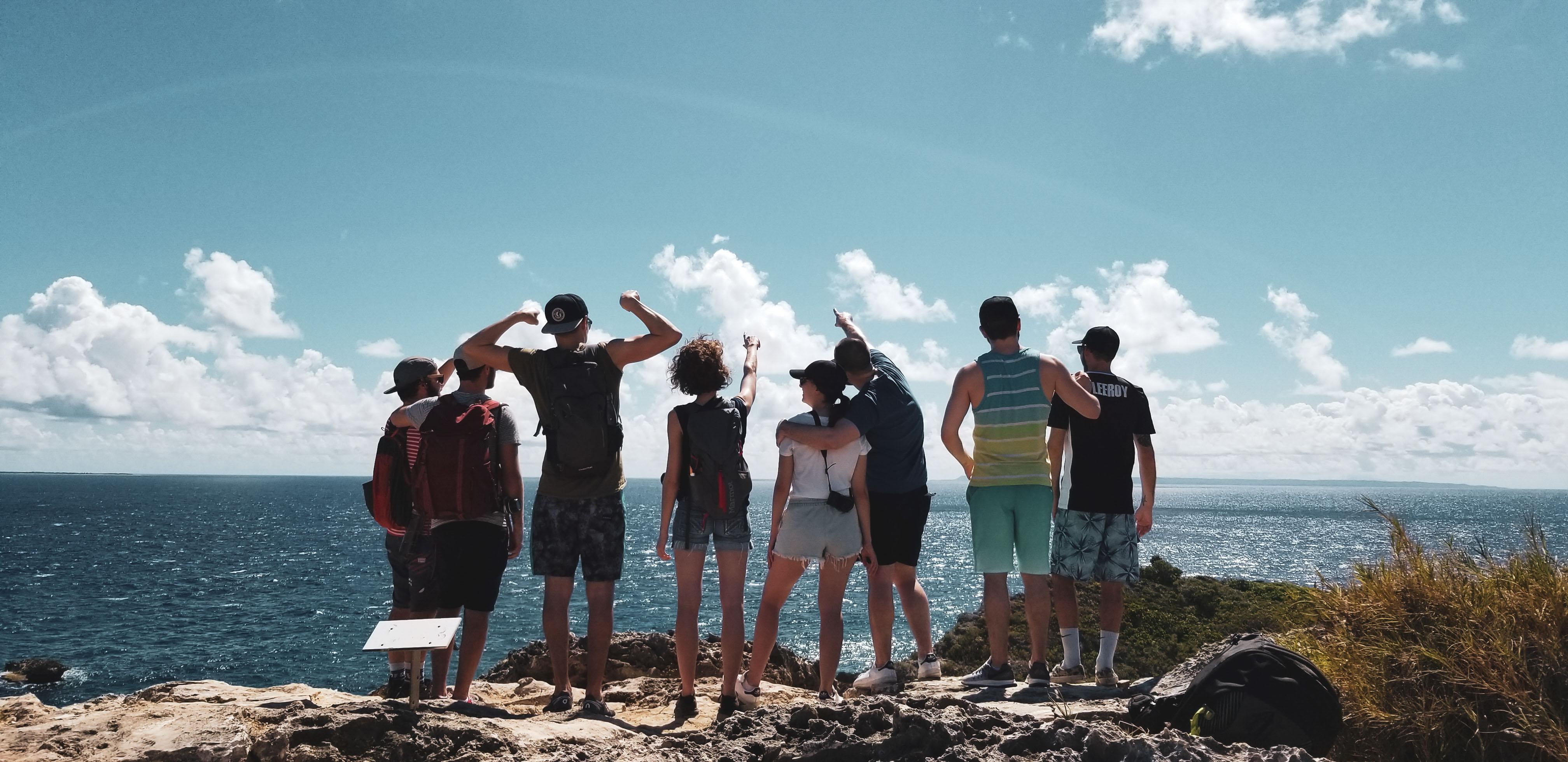 Les amis sur la péninsule de la Pointe des Chateaux, Guadeloupe