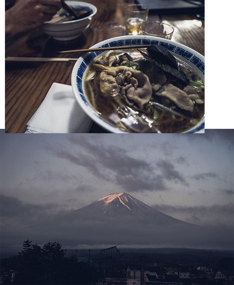 Un plat de ramen à Kawaguchiko et le Mont Fuji, par Côté Hublot