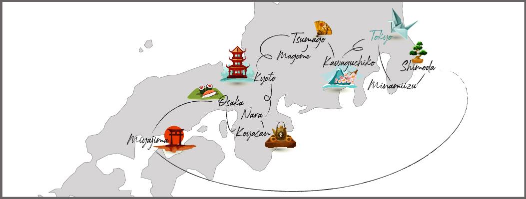 Carte de notre itinéraire de trois semaines au Japon, Côté Hublot